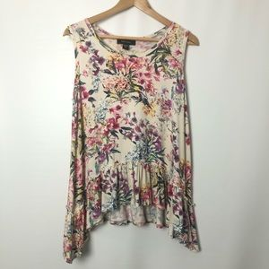 Karen Kane asymmetrical floral sleeveless top Sz L